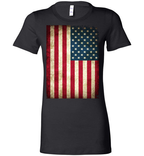 USA Flag Distressed 4th Of July Independence Day America Vintage American Flag v4b , Bella Ladies Favorite Tee
