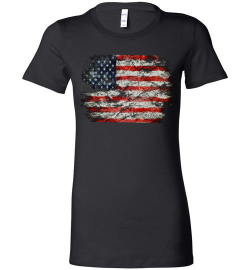 USA Flag Distressed 4th Of July Independence Day America Vintage American Flag v2b , Bella Ladies Favorite Tee