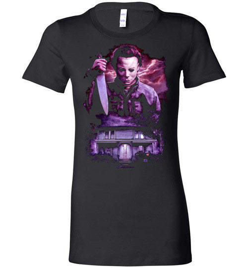 HALLOWEEN MICHAEL MYERS John Carpenter Classic Horror Movie v6, Bella Ladies Favorite Tee