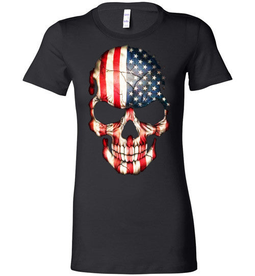 American Skull Flag USA 4th Of July independence day v1, Bella Ladies Favorite Tee