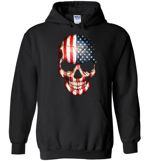 American Skull Flag USA 4th Of July independence day v1, Gildan Heavy Blend Hoodie