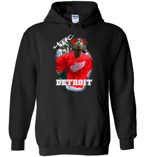 Tupac 2pac Shakur Makaveli Supporting Detroit Red Wings v15, Gildan Heavy Blend Hoodie