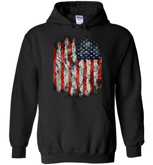 USA Flag Distressed 4th Of July Independence Day America Vintage American Flag v2, Gildan Heavy Blend Hoodie