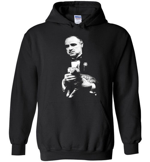 The Godfather Marlon Brando With Cat Mafia Gangster Movie Classic , Gildan Heavy Blend Hoodie