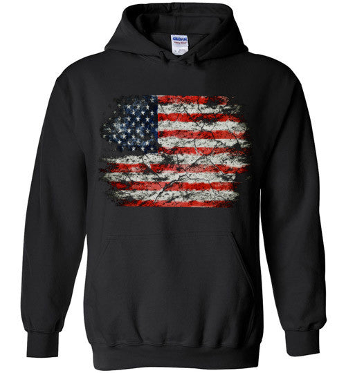 USA Flag Distressed 4th Of July Independence Day America Vintage American Flag v2b , Gildan Heavy Blend Hoodie