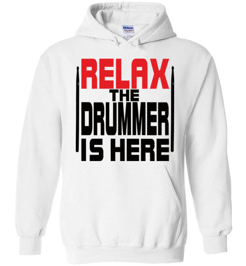 Relax The Drummer Is Here v2 , Gildan Heavy Blend Hoodie