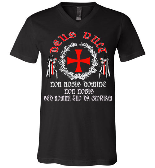 Knights Templar Deus Vult shirt v2 , Canvas Unisex V-Neck T-Shirt