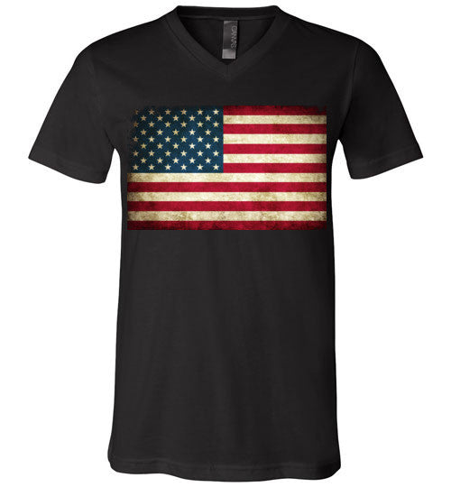 USA Flag Distressed 4th Of July Independence Day America Vintage American Flag v4 , Canvas Unisex V-Neck T-Shirt