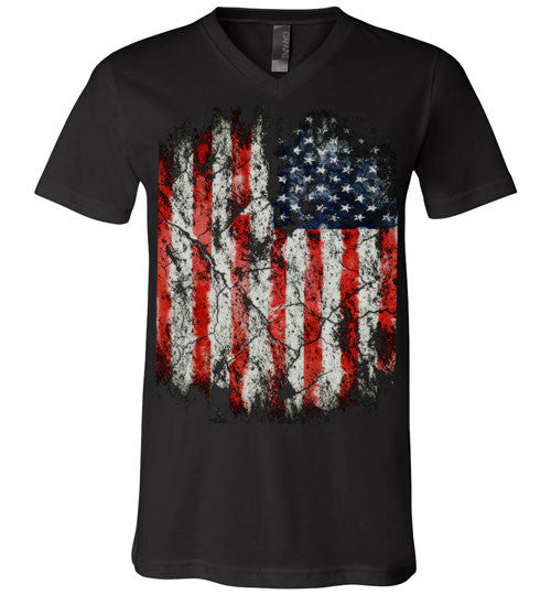 USA Flag Distressed 4th Of July Independence Day America Vintage American Flag v2, Canvas Unisex V-Neck T-Shirt