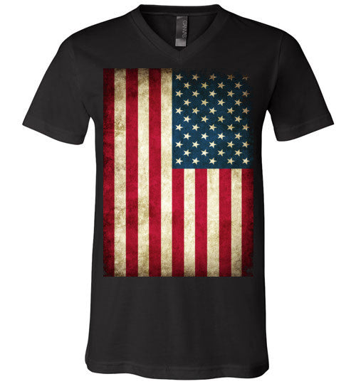 USA Flag Distressed 4th Of July Independence Day America Vintage American Flag v4b , Canvas Unisex V-Neck T-Shirt