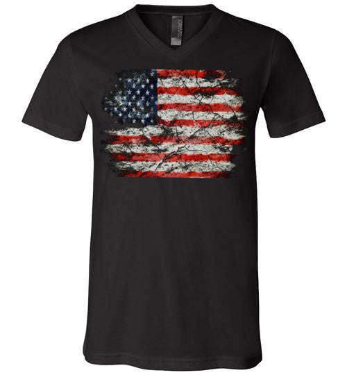USA Flag Distressed 4th Of July Independence Day America Vintage American Flag v2b , Canvas Unisex V-Neck T-Shirt