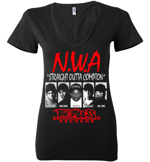 NWA Straight Outta Compton Ruthless Records Eazy E Dr Dre Ice Cube v8 , Bella Ladies Deep V-Neck