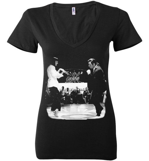 Pulp Fiction Dance, Quentin Tarantino,  John Travolta, Vincent & Mia , Bella Ladies Deep V-Neck