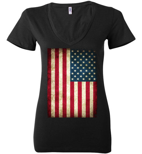 USA Flag Distressed 4th Of July Independence Day America Vintage American Flag v4b , Bella Ladies Deep V-Neck