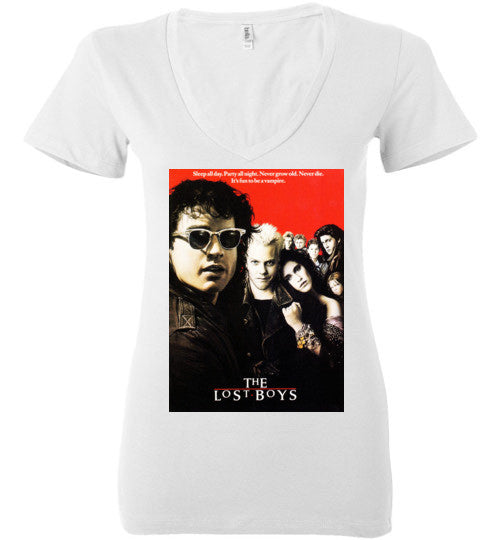The Lost Boys vintage Vampires Horror Movie , v4 , Bella Ladies Deep V-Neck
