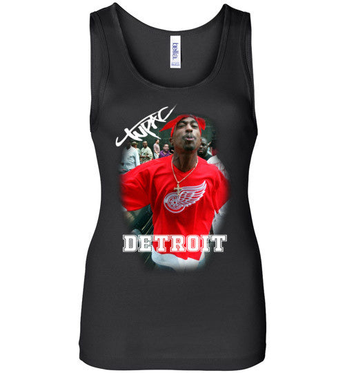 Tupac 2pac Shakur Makaveli Supporting Detroit Red Wings v15, Bella Wide Strap Tank