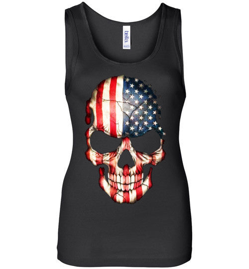 American Skull Flag USA 4th Of July independence day v1, Bella Wide Strap Tank