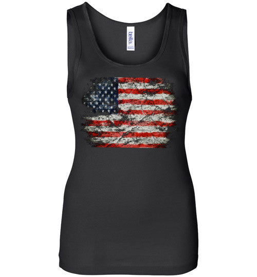 USA Flag Distressed 4th Of July Independence Day America Vintage American Flag v2b , Bella Wide Strap Tank