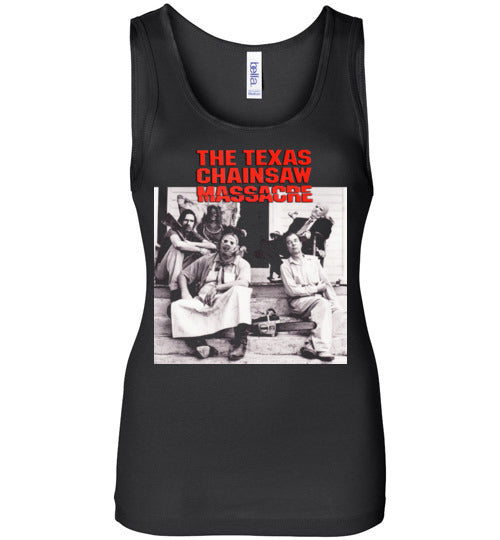The Texas Chain Saw Massacre,1974 horror film,Leatherface,Ed Gein, slasher,v6,Bella Wide Strap Tank