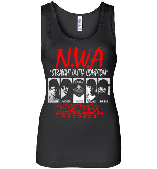 NWA Straight Outta Compton Ruthless Records Eazy E Dr Dre Ice Cube v8 , Bella Wide Strap Tank