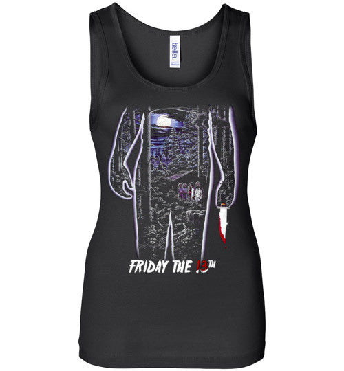 Friday the 13th Horror Movie Classics Vintage Shocker Splatter Gore Jason Voorhees , v4, Bella Wide Strap Tank