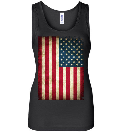 USA Flag Distressed 4th Of July Independence Day America Vintage American Flag v4b , Bella Wide Strap Tank