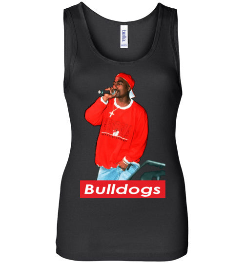 Tupac 2pac Shakur Supporting Georgia Bulldogs Football , Makaveli Death Row hiphop Swag, v28, Bella Wide Strap Tank