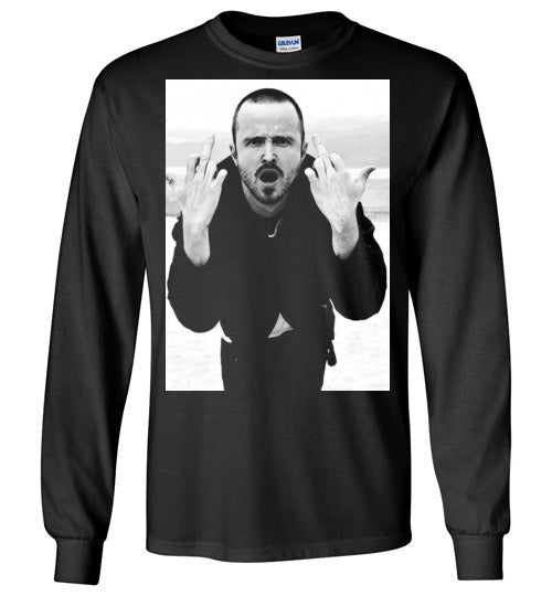 Jesse Pinkman Middle Finger Breaking Bad Aaron Paul Heisenberg, v1a, Gildan Long Sleeve T-Shirt