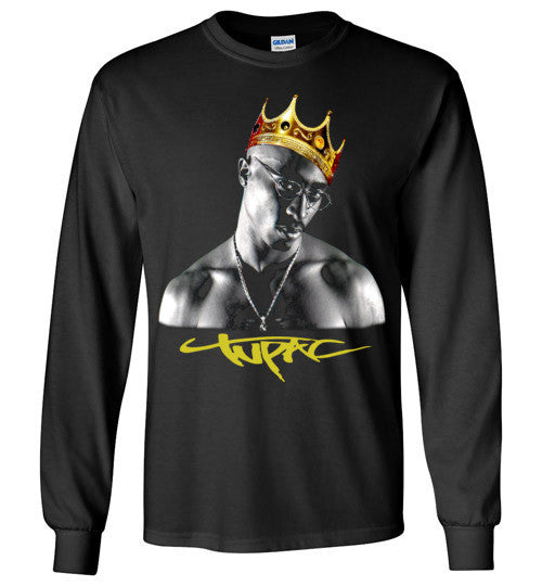 Tupac 2pac Shakur Makaveli Gold Crown Death Row hiphop gangsta Swag Dope, v17, Gildan Long Sleeve T-Shirt