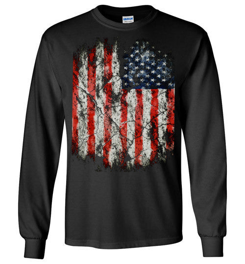 USA Flag Distressed 4th Of July Independence Day America Vintage American Flag v2, Gildan Long Sleeve T-Shirt
