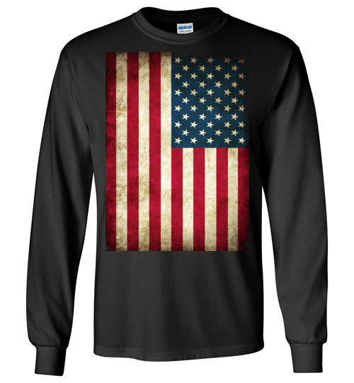 USA Flag Distressed 4th Of July Independence Day America Vintage American Flag v4b , Gildan Long Sleeve T-Shirt