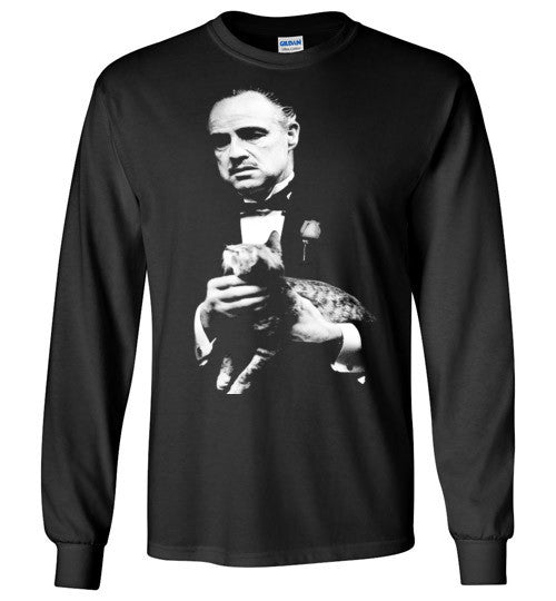 The Godfather Marlon Brando With Cat Mafia Gangster Movie Classic , Gildan Long Sleeve T-Shirt