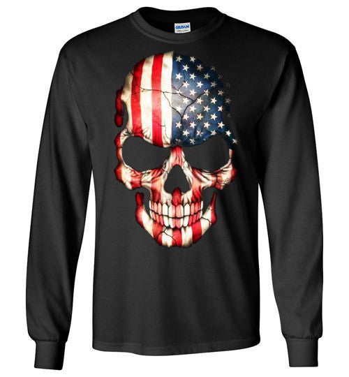 American Skull Flag USA 4th Of July independence day v1, Gildan Long Sleeve T-Shirt