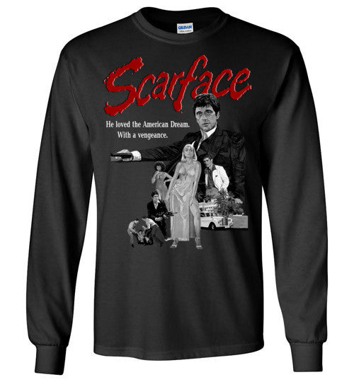 Tony Montana Scarface Al Pacino Gangster Movie  v6 , Gildan Long Sleeve T-Shirt