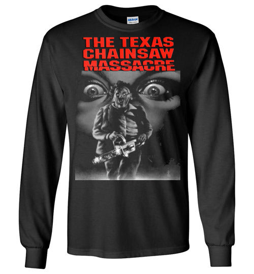 The Texas Chain Saw Massacre,1974 horror film,Leatherface,Ed Gein, slasher,v1,Gildan Long Sleeve T-Shirt