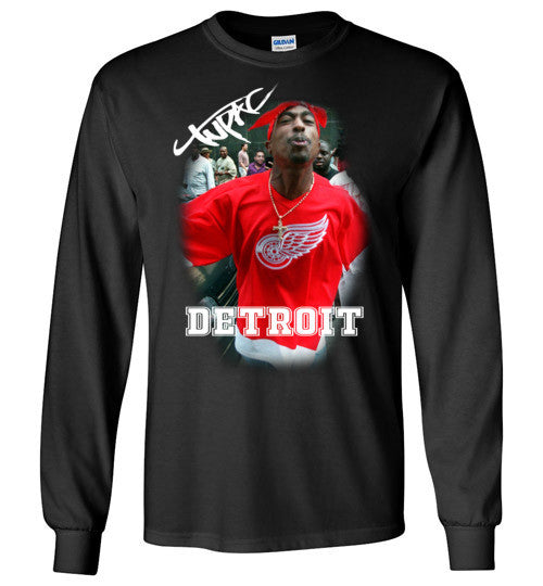 Tupac 2pac Shakur Makaveli Supporting Detroit Red Wings v15, Gildan Long Sleeve T-Shirt