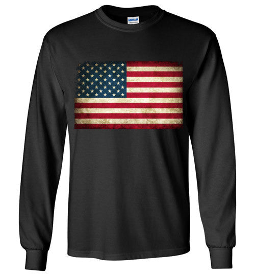 USA Flag Distressed 4th Of July Independence Day America Vintage American Flag v4 , Gildan Long Sleeve T-Shirt