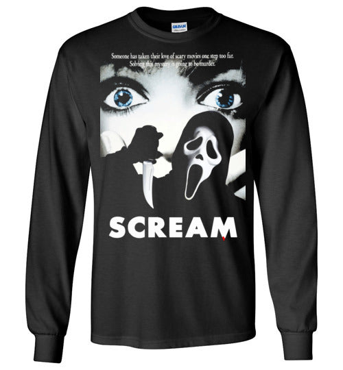 Scream scary movies, masks, thriller, wes craven, halloween, horror, 90s movies,ghostface,drew barrymore, v7, Gildan Long Sleeve T-Shirt