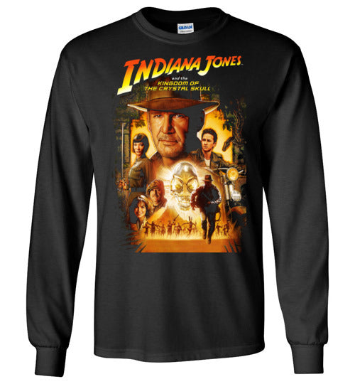 Indiana Jones,Harrison Ford,cult classic,movie,v4,Kingdom of the Crystal Skull,Gildan Long Sleeve T-Shirt
