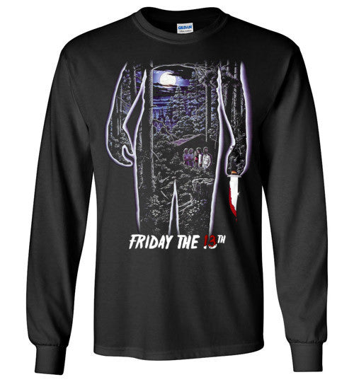 Friday the 13th Horror Movie Classics Vintage Shocker Splatter Gore Jason Voorhees , v4, Gildan Long Sleeve T-Shirt