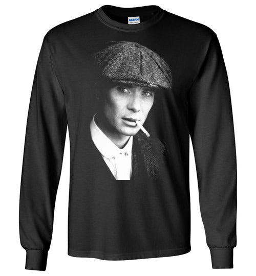 Peaky Blinders,gangster family,crime drama Birmingham, Tommy Shelby,Cillian Murphy,Chester Campbell,Shelby family,v7, Gildan Long Sleeve T-Shirt
