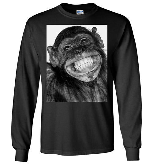 Monkey funny chimpanzee happy smile face,v3,Long Sleeve T-Shirt