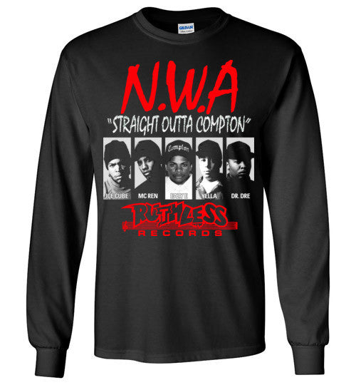 NWA Straight Outta Compton Ruthless Records Eazy E Dr Dre Ice Cube v8 , Gildan Long Sleeve T-Shirt