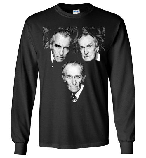 Christopher Lee Vincent Price and Peter Cushing Dracula Vampire Cult Movie Horror Classic , Gildan Long Sleeve T-Shirt