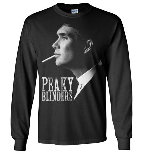 Peaky Blinders,gangster family,crime drama Birmingham, Tommy Shelby,Cillian Murphy,Chester Campbell,Shelby family, v6, Gildan Long Sleeve T-Shirt