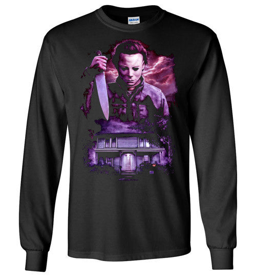 HALLOWEEN MICHAEL MYERS John Carpenter Classic Horror Movie v6, Gildan Long Sleeve T-Shirt
