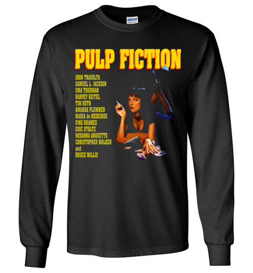 Pulp Fiction Mia Wallace , quentin tarantino, mobsters, john travolta, vincent, jules, v7b, Gildan Long Sleeve T-Shirt