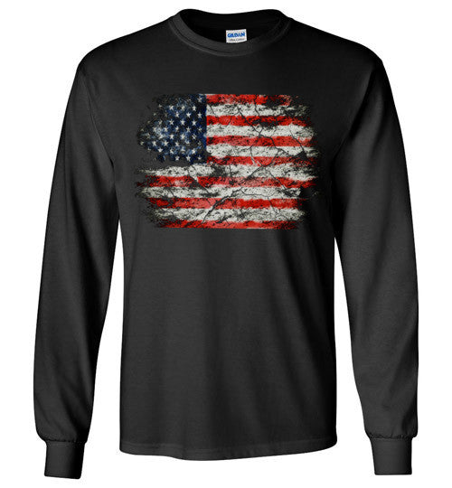 USA Flag Distressed 4th Of July Independence Day America Vintage American Flag v2b , Gildan Long Sleeve T-Shirt