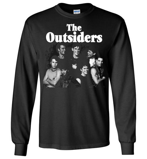 The Outsiders,drama film, Francis Ford Coppola,Rob Lowe, Emilio Estevez, Matt Dillon, Tom Cruise, Patrick Swayze, Ralph Macchio,1983,cult classic,movie,v2,Gildan Long Sleeve T-Shirt
