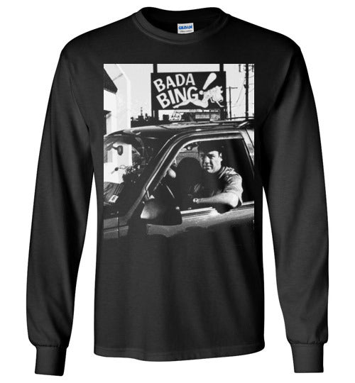 The Sopranos,Tony Soprano,Bada Bing,James Gandolfini,Mobster,Italian Mafia,Gangster TV Series, v1, Gildan Long Sleeve T-Shirt